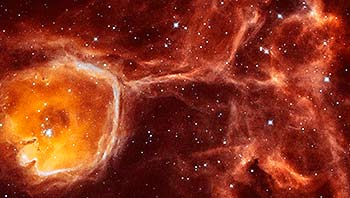 Hubble Peers Inside Interstellar Bubble N44F